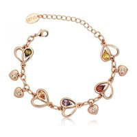 Hearts Charms Bracelet with Swarovski Elements