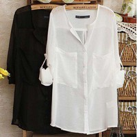 Chiffon Sheer Simple Collar Shirt