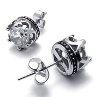 Titanium Steel Transparent CZ Crown Shape Stud For One Pair