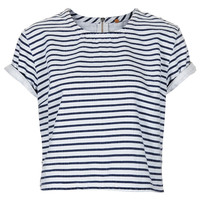 MOTO Stripe Denim T Shirt - Denim Shirts & Bralets - Denim - Clothing - Topshop USA