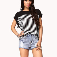 Vertical Stripe Chiffon Top