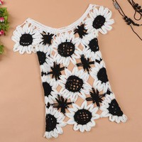 Sweet sleeveless sweater Sunflower Slim hollow