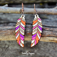 Purple Wood native earrings - feather (laser cut)