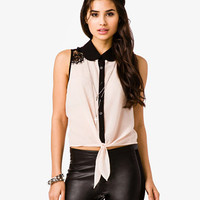 Lace Trim Tie Shirt | FOREVER21 - 2000046247