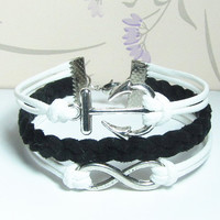 Infinity Bracelet - Anchor Bracelet-White Wax Cords and Black Braid bracelet.