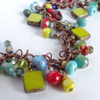 Bright colors beaded bracelet OOAK dangle bracelet