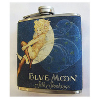 retro fashion hip flask vintage 1950&#x27;s advertising pin up girl rockabilly kitsch