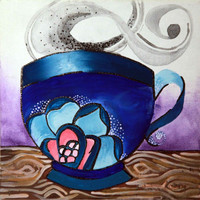 6x6 Coffee with a rose painting