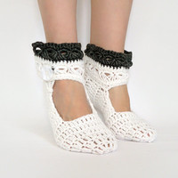 Women Crochet House Slippers, White Alpaca Wool Leg Warmers