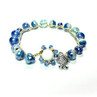 murano blue bead wrap bracelet Spring by theflowerdesign on Etsy