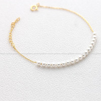 girlsluv.it - sterling silver, tiny PEARLS bracelet