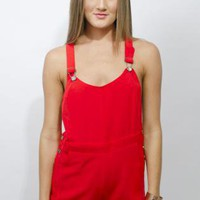 Funky Red Overalls, Romper, Casual Chic