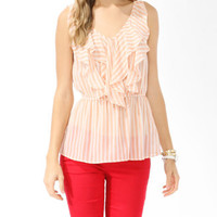 Sheer Striped Blouson Top