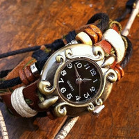 Vintage Style Wrist Watch Brown Leather Bracelet  Black Face Wrist Watch, Handmade Women's Watch, Everyday Bracelet  PB036
