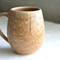 Pottery Coffee Mug - Polka Dot Belly Mug - Large Ceramic Cup - Spearmint Green