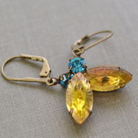 Aquamarine and Citrine Estate Earrings, Lever Back, Vintage Cushion Glass Rhinestone, Antiqued Brass Earrings, Bridesmaids