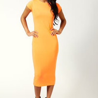 Cara Neon Cap Sleeve Jersey Bodycon Midi Dress