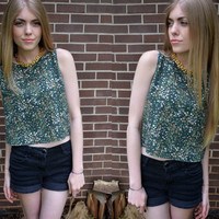 Vintage Green Polka Dot Crop Tank