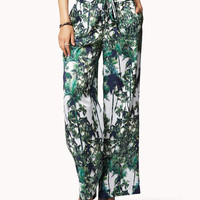 Palm Print Wide Leg Pants
