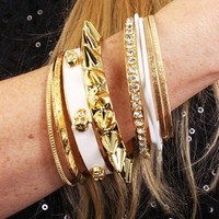 White Gold Multi Bangle Bracelet Set