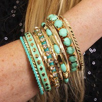 Mint Gold Multi Bangle Bracelet Set