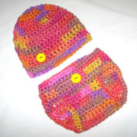 New Born Bright Sherbert Tie-dye Diaper Cover and Baby Hat Set-  Baby Shower Gift, Ready to Ship