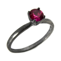 Ruby Ring, Sterling Silver Solitaire Ring with Ruby Jewel