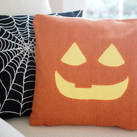 Jack o Lantern Pillow Cover CLARA Pumpkin Cute Halloween Decor 18 x 18