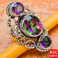 AZOTIC MYSTIC TOPAZ 925 STERLING SILVER SIGNATURE RING SIZE 6 1/2 JEWELRY
