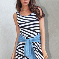 Cross Back Striped Dress | Timeless Boutique