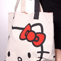 Beige Canvas Fabric Hello Kitty Face Print Oversize Tote Handbag