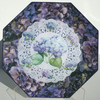 Purple Hydrangea's Reverse Decoupage Plate by GloriousCreations5
