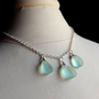 Aqua Sea Glass Necklace:  Silver Wire Wrapped Seafoam Mint Green Statement Beach Jewelry