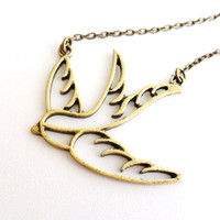 Swallow Necklace, 16&quot; Bird Necklace in Antique Bronze Rockabilly Retro Sailor Tattoo Vintage Style