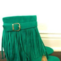 Teal Suede Sandal with Fringe & Zipper Closure