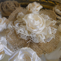 Set of 20 Handmade Natural Burlap &amp; Ivory Lace Flowers for weddings, bouquet making, wedding decor, cake toppers,
