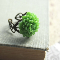 Green Flower Ring Chrysanthemum Ring Floral by apocketofposies