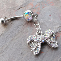 Silver Bow Belly Button Ring with AB Crystals