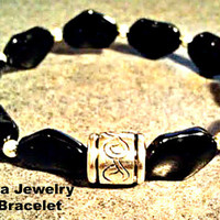 "Men's Bracelet    "" Azabache Natural"""