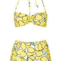 Yellow Lemon Bandeau Bikini - Swimwear  - Clothing