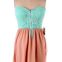 Turquoise Lace Top/ Taupe Bottom Strapless Dress | Bellum&Rogue