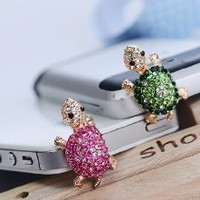Dust Plug- Earphone Jack Accessories Crystal Lovely Pink Turtle