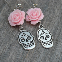 Day of the Dead Earrings, Day of the Dead Jewelry, Skull Earrings, Dia de los Muertos, Sugar Skulls, Pink Roses, Rose Earrings,