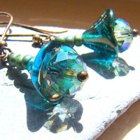 Czech glass teal flower earrings Handmade by ElephantBeads on Etsy
