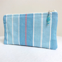 Pale Blue Striped Clutch / Zippered Bag with by KellysKeepsakes