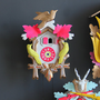 Neon Pink, Green &amp; Gold Cuckoo Clock. Working Condition