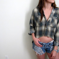Hi Low Plaid Shirt Flannel Womens High Lo Cropped Crop Top Tunic Button Up Down Grunge