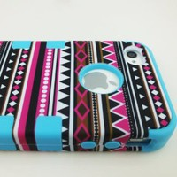 3-Piece Hybrid High Impact Case Tribal Tribe Blue Silicone Cover Skin For iPhone 4 4S 4G