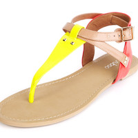 accessories : Barbados T Strap Flat - Yellow and Pink