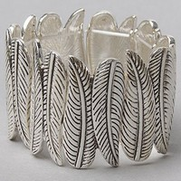 The Leaf Statement Bracelet in Silver